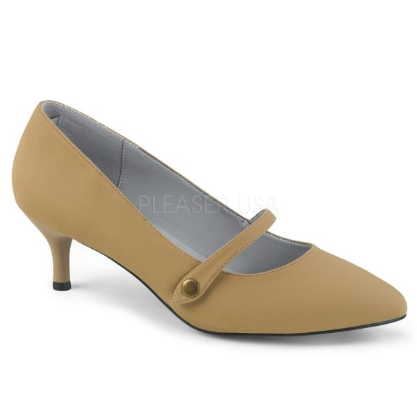 Klassische Mary Jane Pumps taupe Nubuckleder KITTEN-03